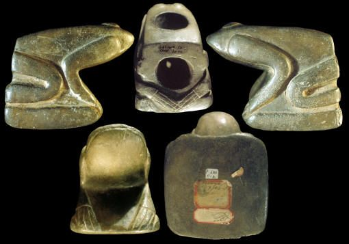 """Frog Effigy Pipe"", Cahokia style, Missouri flint clay, Mississippian culture, found in the Craig Mound at the Sprio Site in Oklahoma. The style of this pipe indicates that it may have been made in the Cahokia Mounds area. The frog is sitting on a platform which is a common feature on other Cahokia style pipes."