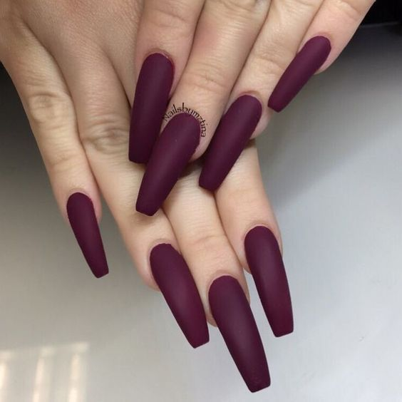 45 Simple And Charming Wine Red Nail Art Designs Fall Burgundy Nails Wine Red Stiletto Nails Burgun Burgundy Matte Nails Matte Nails Design Coffin Nails Matte