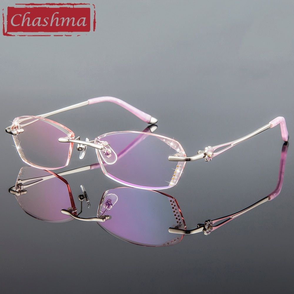 e50431a9e4 Chashma Brand Women Diamond Trimmed Tint Lenses Glasses Frame Prescription  Spectacles for Female Fashion Colored Stones Lenses Review