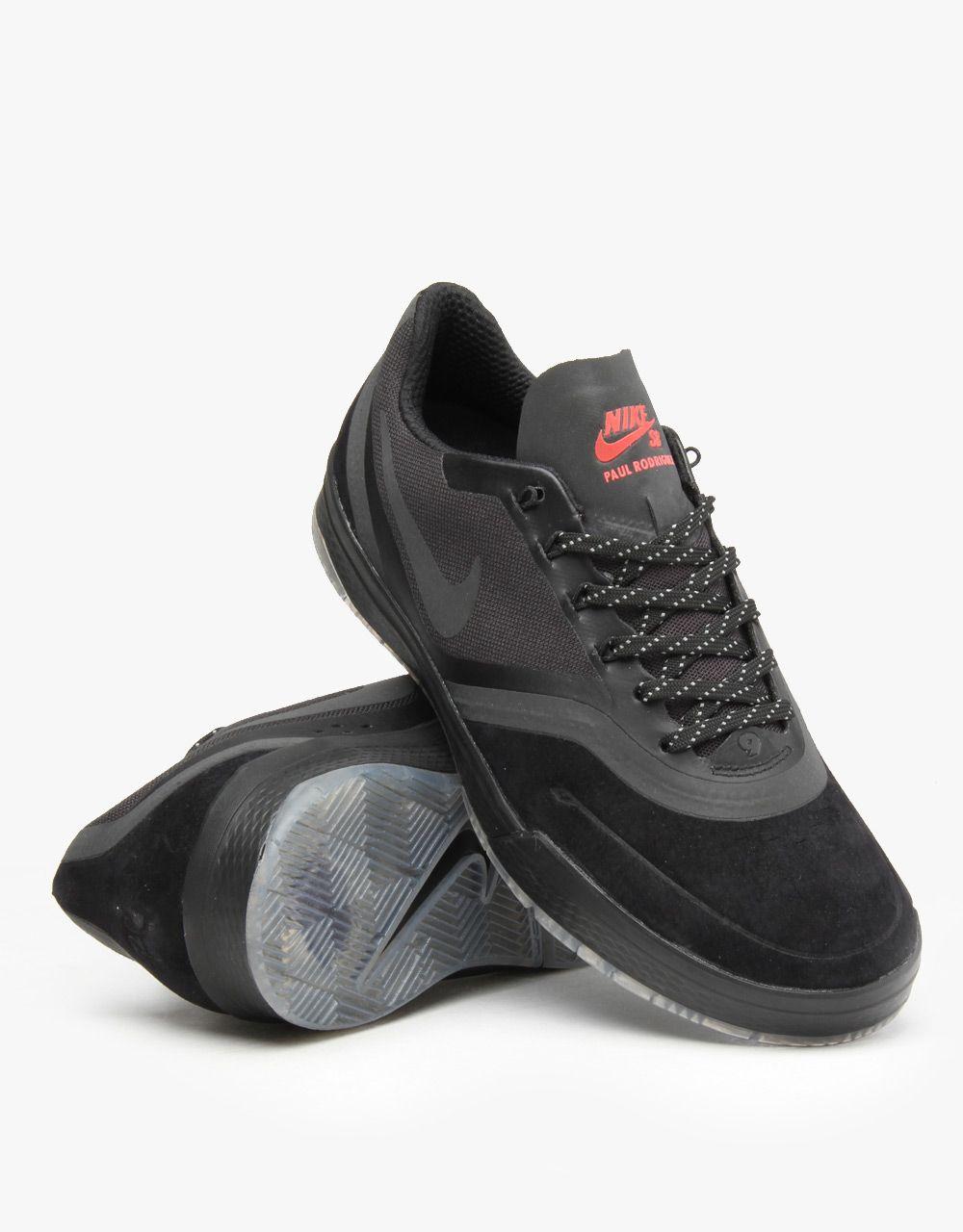 Nike SB Paul Rodriguez 9 Elite Flash Skate Shoes  BlackBlackCrimson