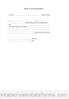 Printable Sample Report Of Abandoned Property Form  Generic Legal