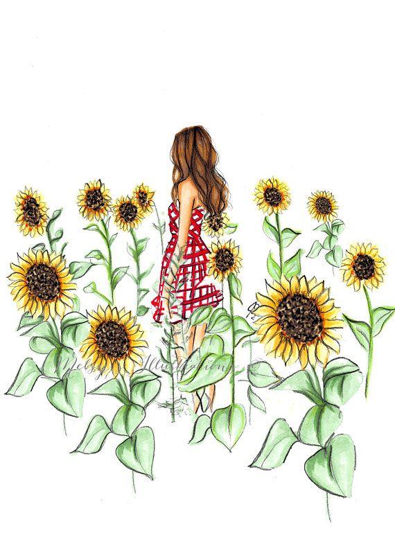 The Sunflower Field Fashion Illustration Print Fashion