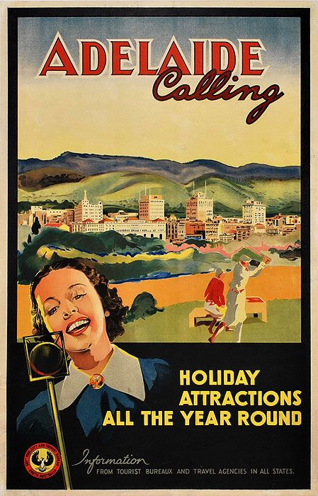 Adelaide Vintage Posters Retro Poster Vintage Travel Posters