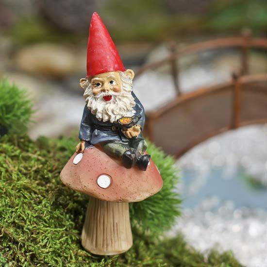 Gnome Garden: Fairy Garden Gnome And Mushroom Pick
