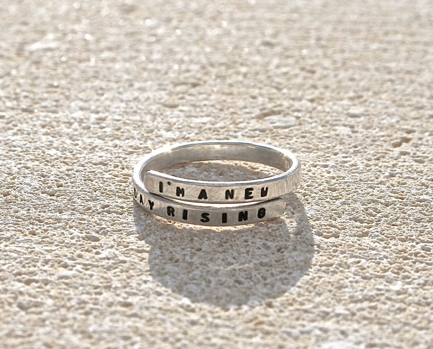 Handmade Lyric Ring Im a new day rising Sterling Silver 925