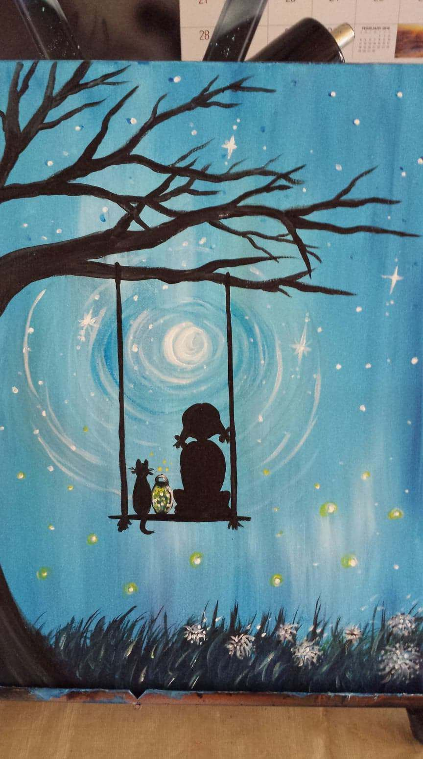 Child On Swing Canvas Painting Kids Canvas Painting Sillouette Painting Canvas Painting