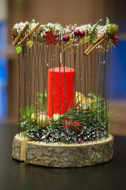Pin von petra auf basteln pinterest baumscheiben for Gestecke basteln weihnachten