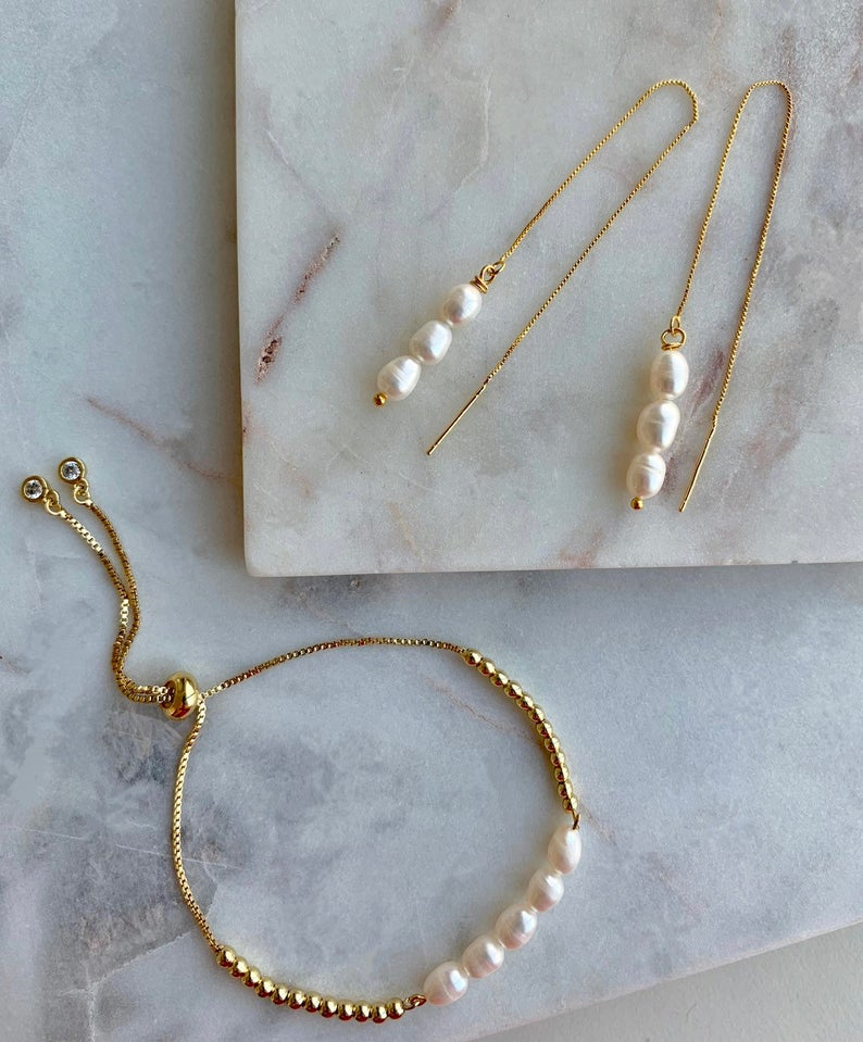 Freshwater Pearl Bracelet Pearl Bar Bracelet Delicate | Etsy