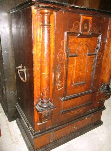 antik Renaissance Schrank Tresor Unterbau Safe Barock