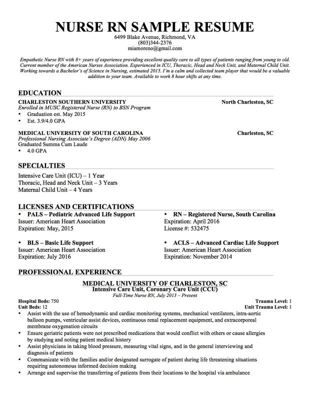 Experienced nursing resume nursing pinte for Sample rn resume 1 year experience