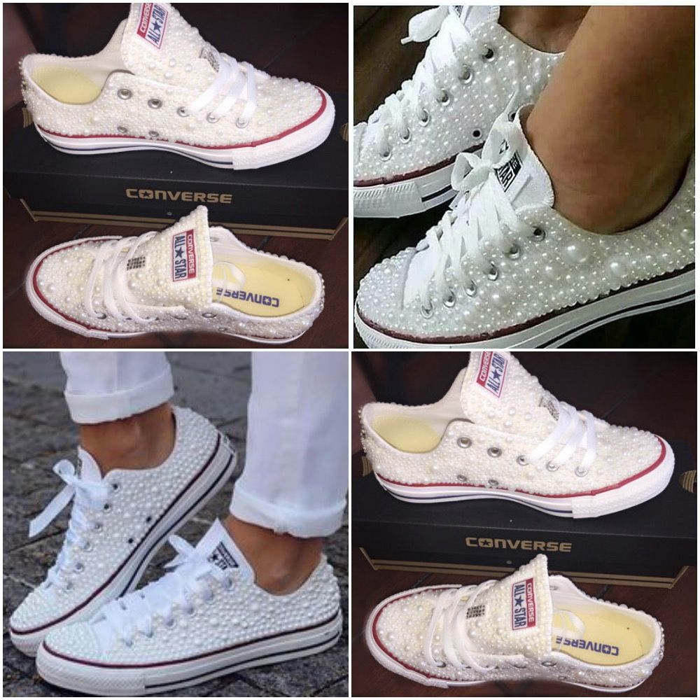 All Star Original Converse With Pearls & With White Ribbon