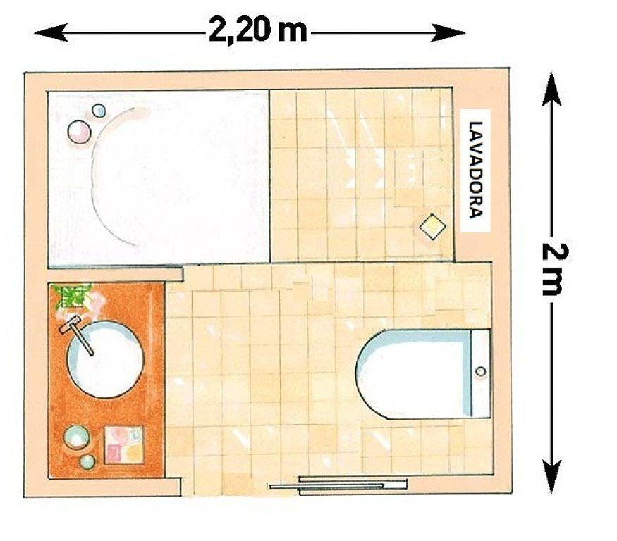 Distribuci n ba o con lavadora decorar tu casa es facil for Distribucion de banos pequenos