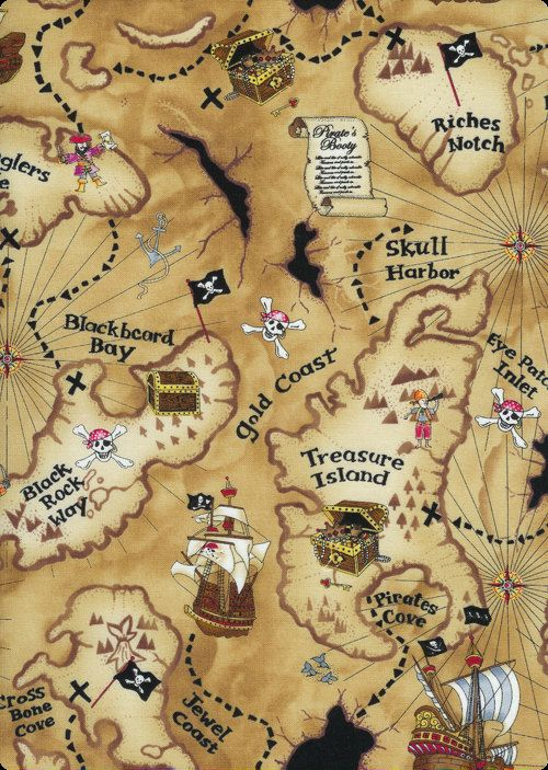 Pirate map fabric on tan by the yard map fabric yards and fabrics pirate map fabric on tan by the yard gumiabroncs Image collections