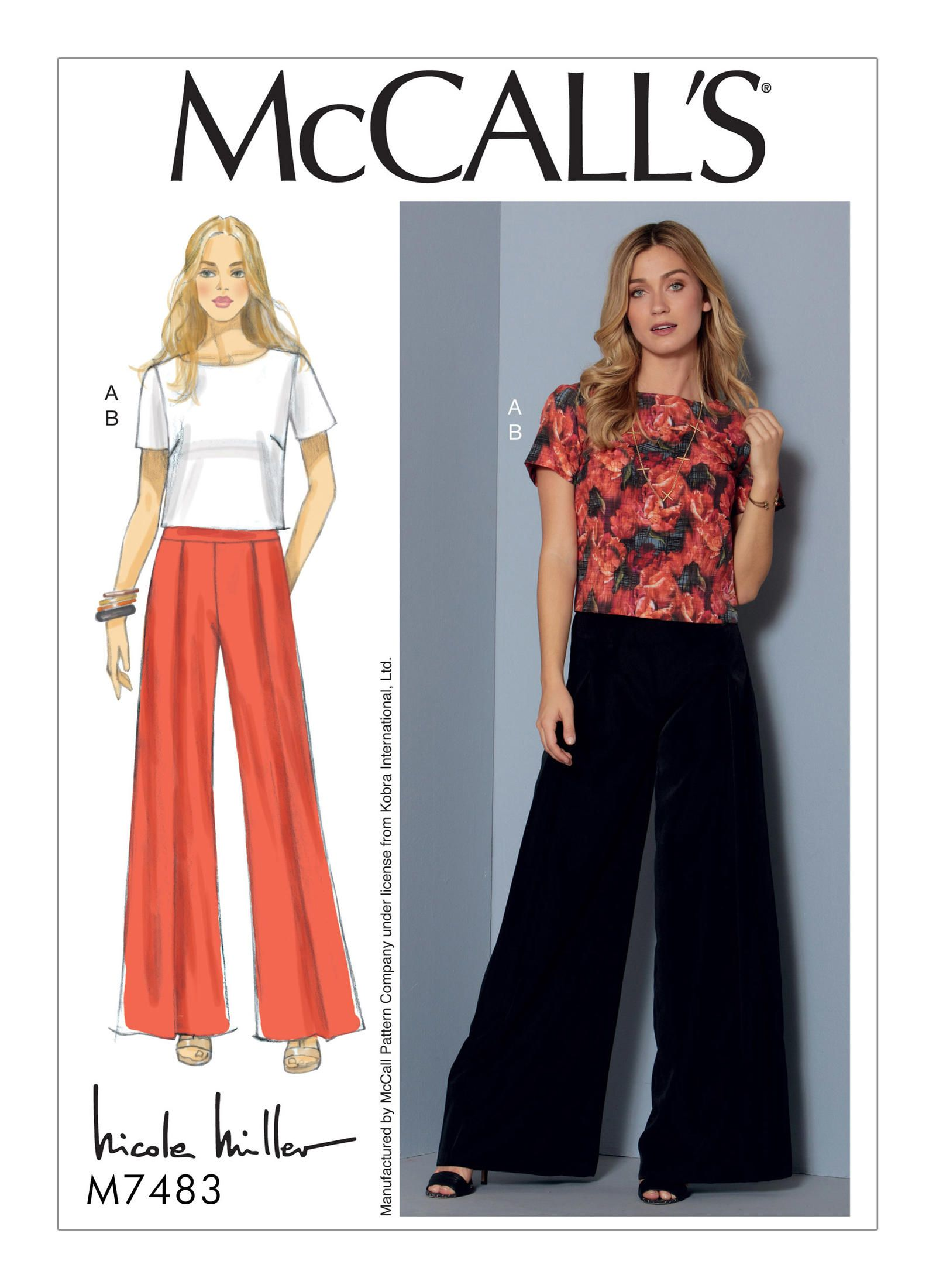 Mccall S Misses Short Sleeve Top And Pleated Wide Leg Pants 7483