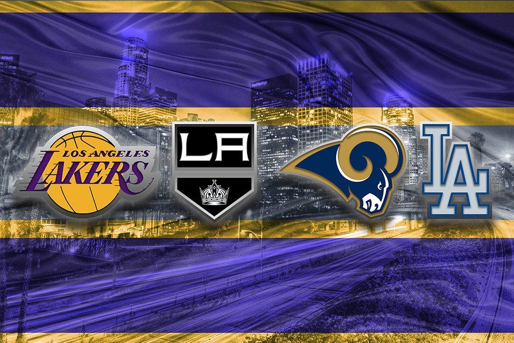 Los Angeles Sports Teams Poster Los Angeles Dodgers La Kings La Lakers La Rams Man Cave Art Los Angeles Sports Teams La Rams Los Angeles