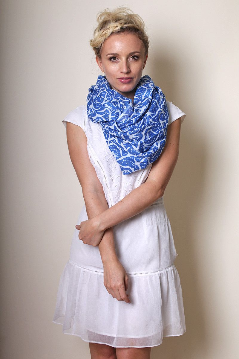 Anika Dali Women's Santorini Seagull Infinity Loop Scarf -www.ANIKADALI.COM // Fashion Scarves. Unique Gift Ideas. Holiday Gifts. For Her. #ANIKADALI