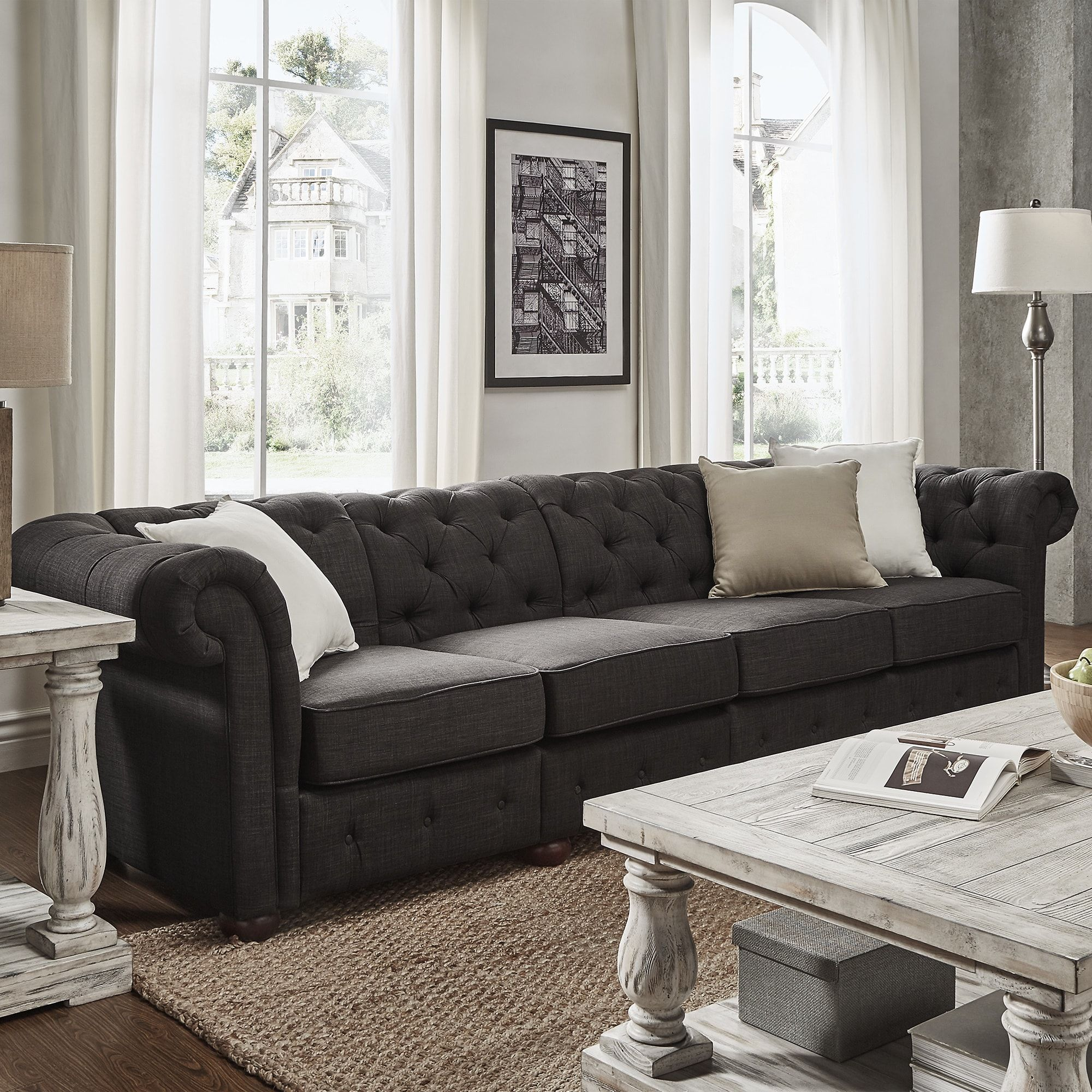 tribecca home knightsbridge beige linen tufted scroll arm chesterfield sofa stretch to fit covers baci living room