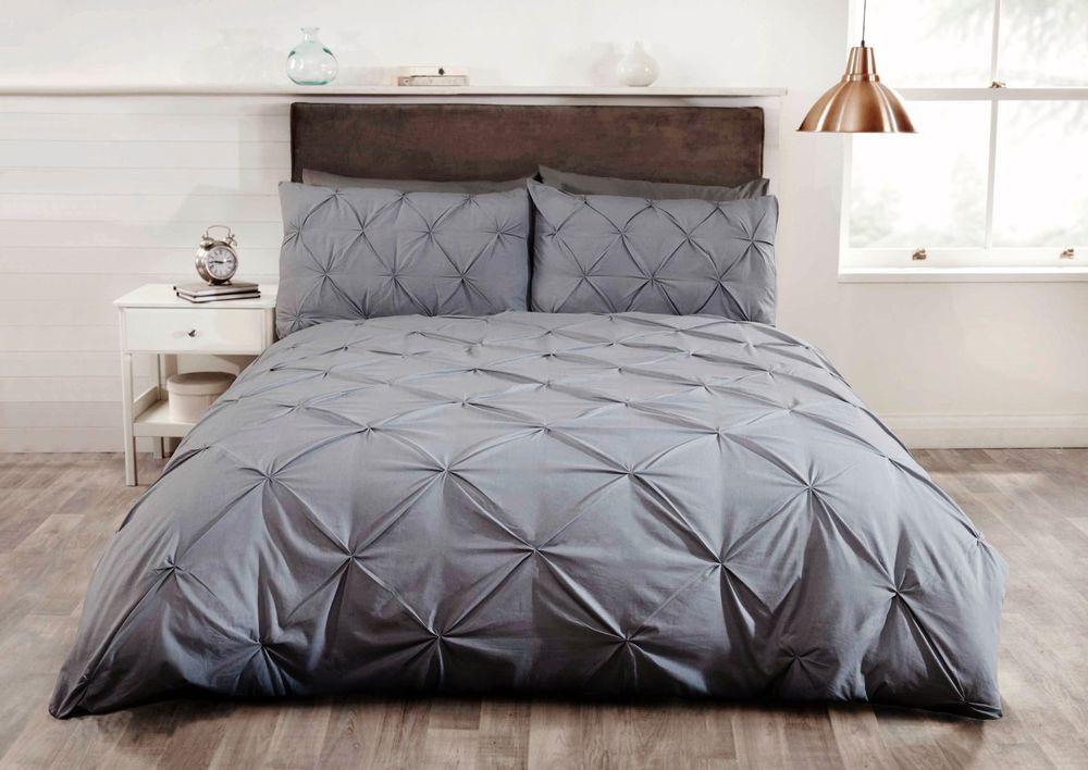 Rapport Grey Balmoral Pleated Pintuck Duvet Set S D K Sk In Home Furniture Diy Bedding Bed Linens Sets Ebay Dekbedovertrek Dekbedset Bed