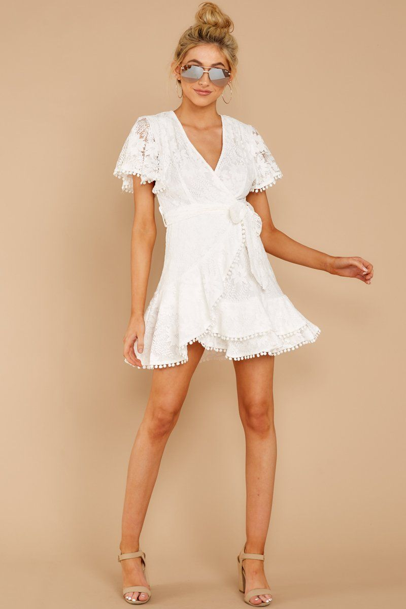 Stunning White Lace Wrap Dress Short Sleeve Lace Dress Dress 54 Red Dress Boutique Lace White Dress White Short Dress Wrap Dress Short