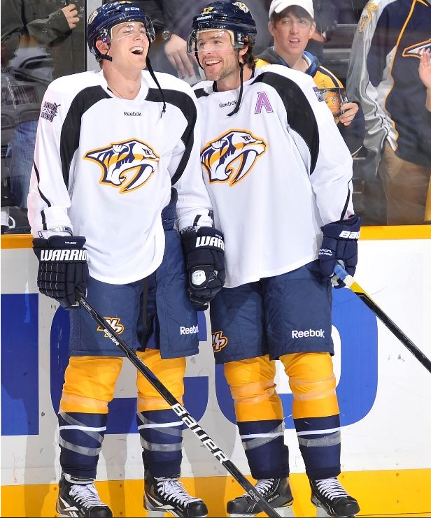 Colin Wilson Mike Fisher Hockey Fights Cancer Night 10 27 11 Predators Hockey Nashville Predators Hockey Hockey Fights