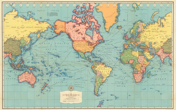Antique World map digital print. World map printable
