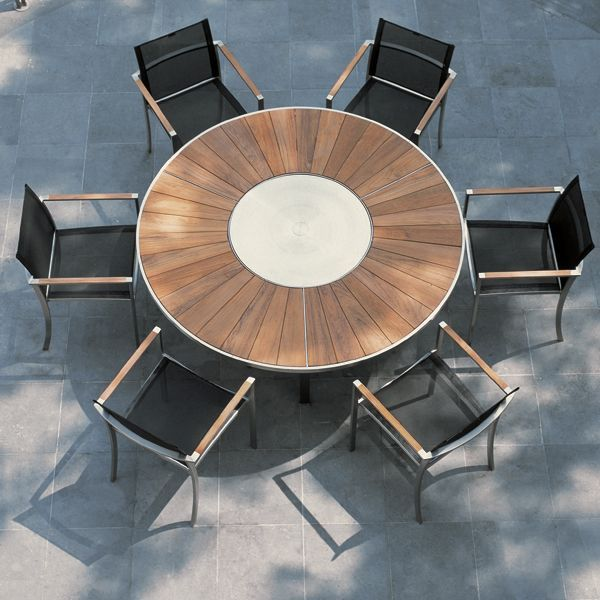 Teak Dining Table With Lazy Susan Center Mobiliario Muebles