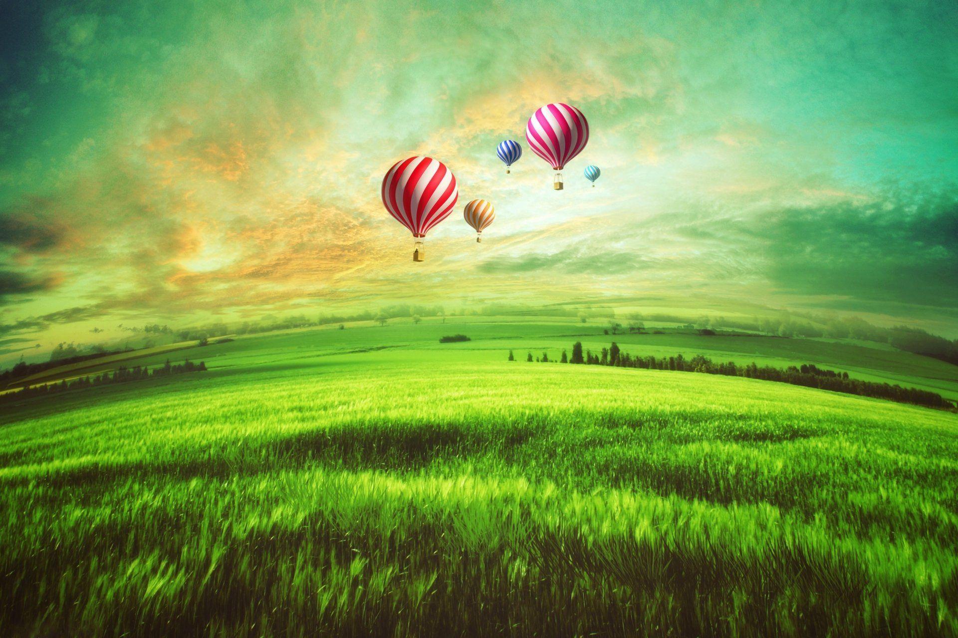 Vehicles Hot Air Balloon Artistic Field Landscape