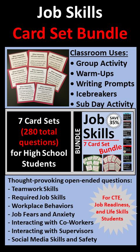 Job Skills Card Sets Employability Skills Teamwork Skills Education Lessons