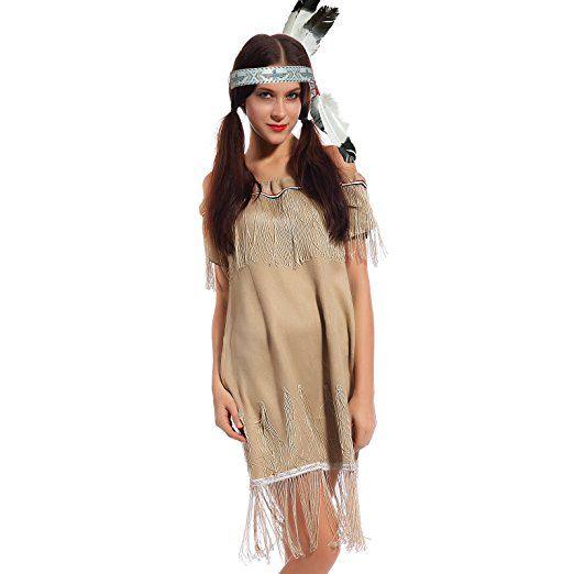 Karneval Damen Kostuem Indianerin Sioux Squaw Wilder Westen Kostuem