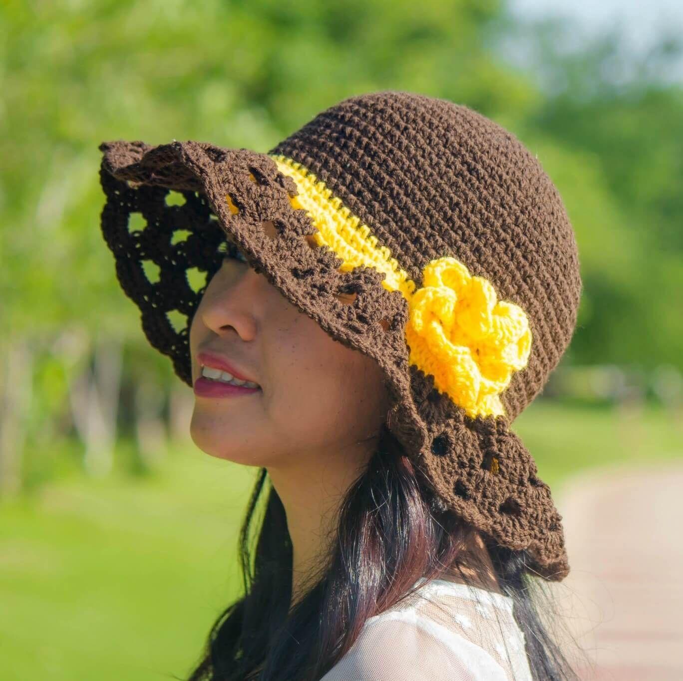 Cappuccino frappe wide brim crochet sun hat free pattern | crochet ...