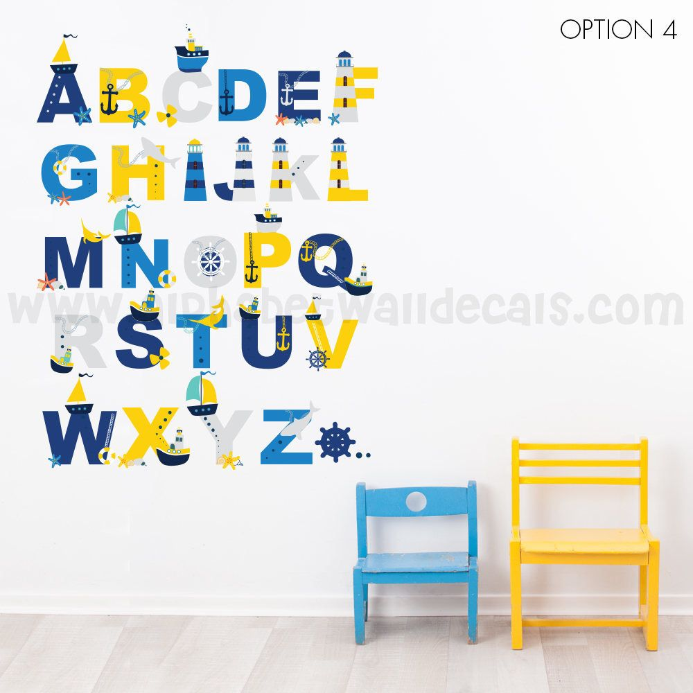 Alphabet Wall Decal - Alphabet Decal - Nautical Nursery Wall Decals - Playroom Wall Decal -  sc 1 st  Pinterest & Alphabet Wall Decal - Alphabet Decal - Nautical Nursery Wall Decals ...