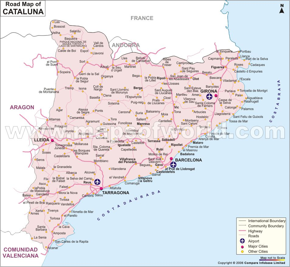 Political Map Of Catalonia Main Cities Catalonia Pinterest - Road map of colombia 2006