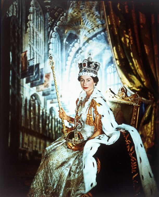 Queen Elizabeth was coronated in 1953 but became queen immediately following her father's death in 1952.
