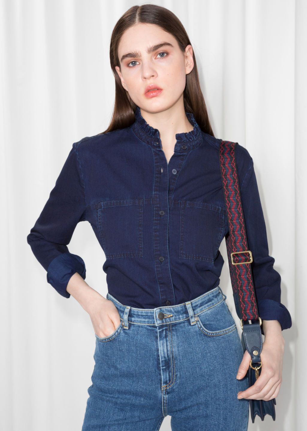 fa1ad12d Model front image of Stories denim utilitarian shirt in blue ...