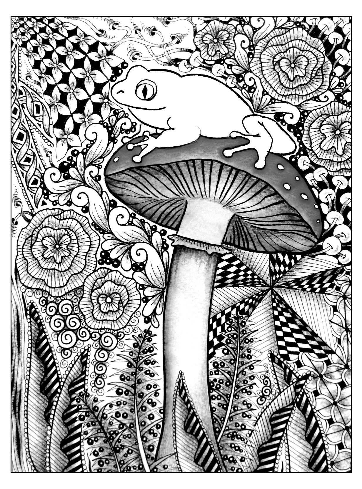 Coloring pages for adults cute - Free Coloring Pages Coloring Forest Frog A Cute Frog On The Top Of A Mushroom So Many Different Styles To Choose