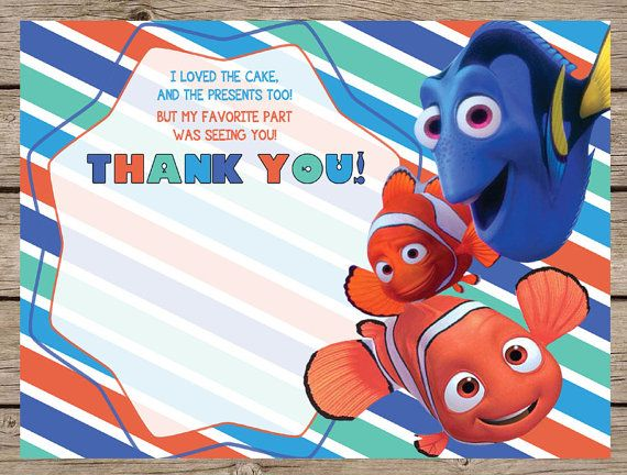 Finding Nemo Thank You Card Finding Dory Thank You Card Nemo