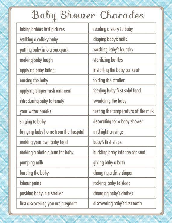 Amazing Charades Baby Shower Game Printable By SunnysideCottageArt