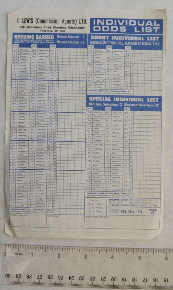 1976 Football Pools Coupon Agent I Lewis Chorlton Football