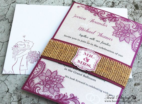 Burlap Wedding Invitations Diy: DIY Wedding Invitations With Burlap Belly Band Burlap