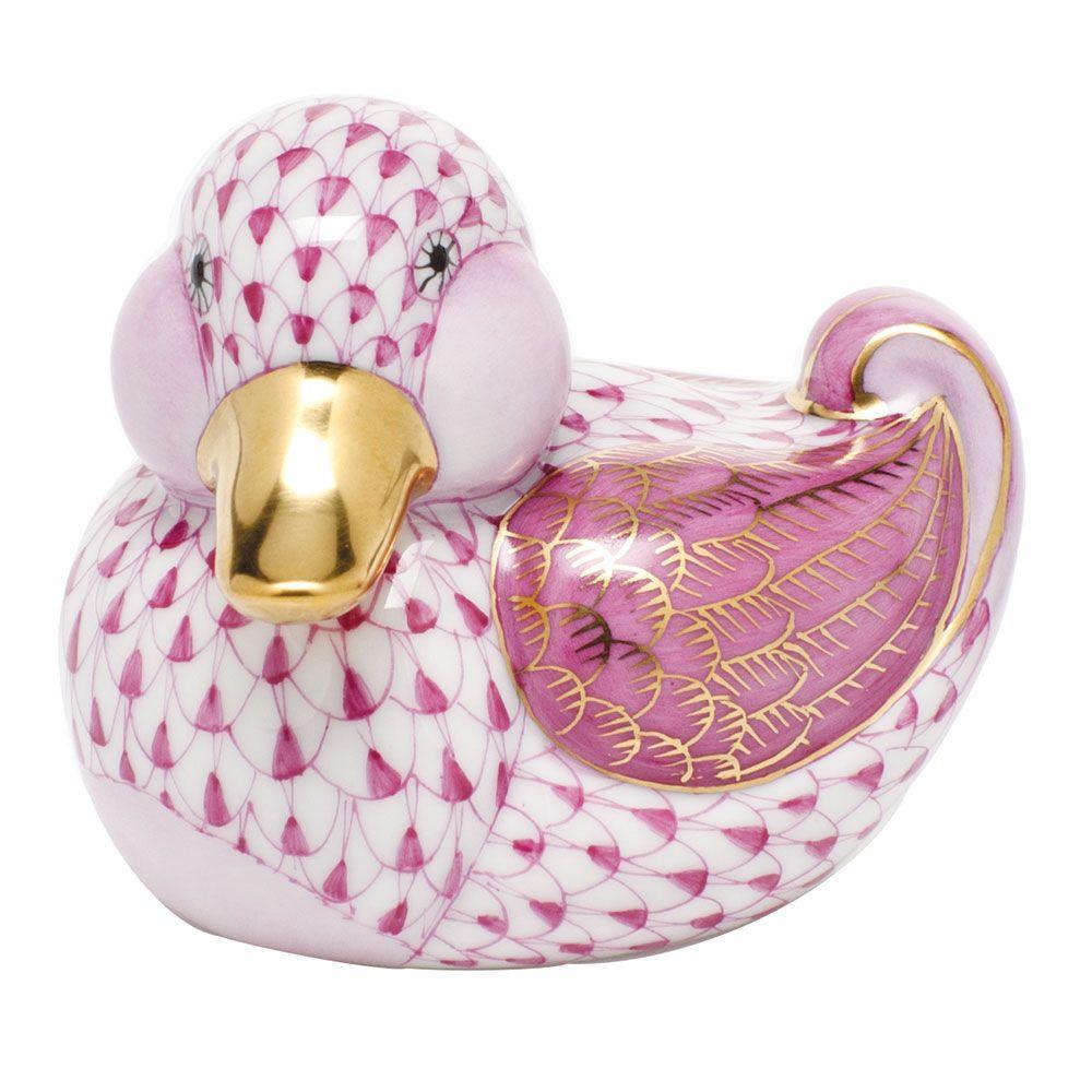 Herend Kangaroo Hand Painted Porcelain Figurine In Pink: Herend Hand Painted Porcelain Figurine Of Dapper Ducky