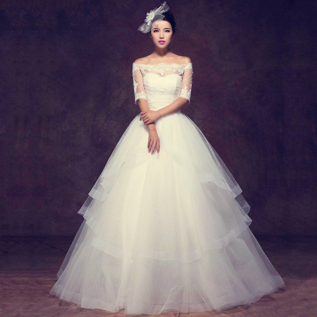 Ball gown wedding dress with sleeves  Wedding Dress Lace Wedding Dress Lace Dress See Through Dress
