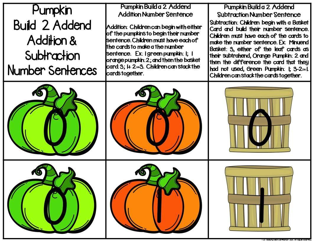 Pumpkin Build A 2 Addend Number Sentence Math Center Game