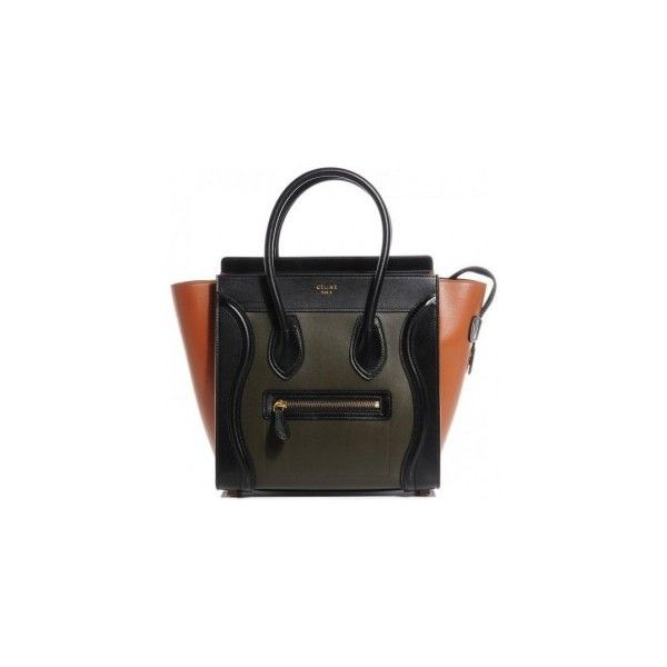 c4a8bc73b3 Celine Smooth Calfskin Tricolor Micro Luggage Khaki ❤ liked on Polyvore  featuring bags