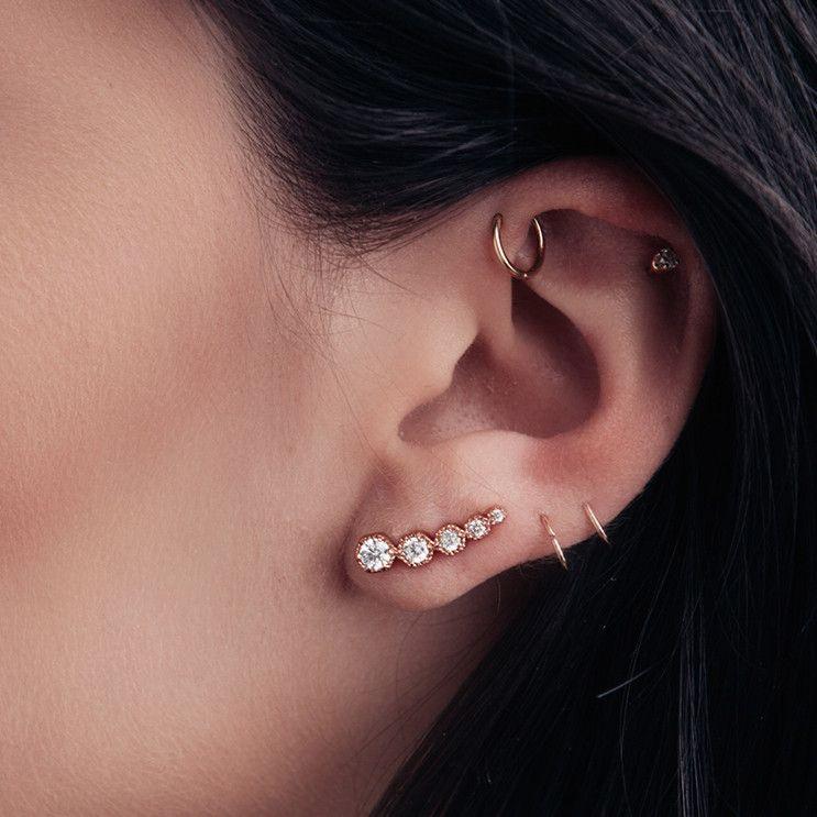 Hex Stud Crawler Earring- Rose Gold | Luv Aj