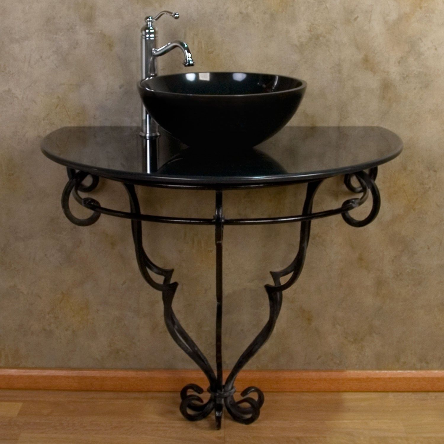 Wall mount wrought iron console vanity for vessel sink granite top console sinks bathroom for Wrought iron bathroom furniture