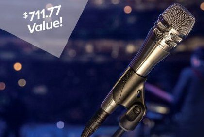 A Shure microphone with a stand and a cable worth $700. Complete all fields and submit the form to enter.