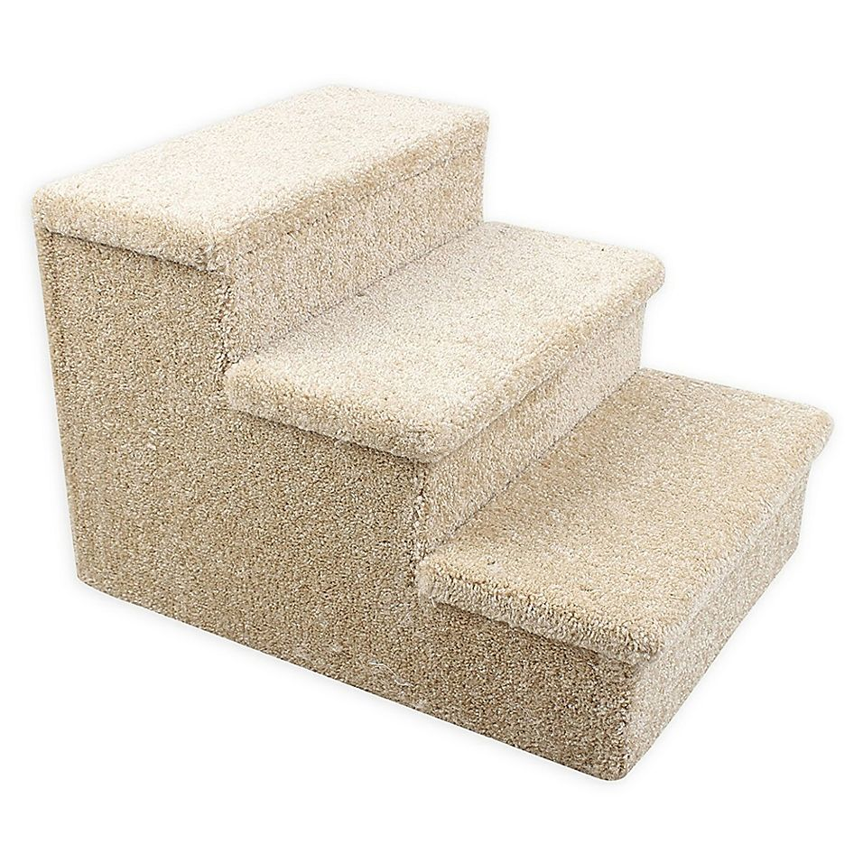 Dog Catlife 3 Step Carpeted Pet Stairs In Beige Pet Stairs Carpet Stairs Carpet