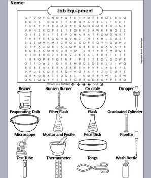 Lab Equipment Word Search Coloring Book With Images Lab