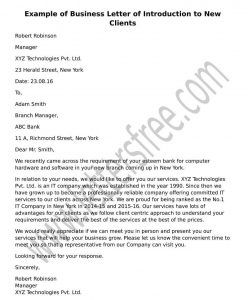 Sample Business Letter Of Introduction To New Clients  Business