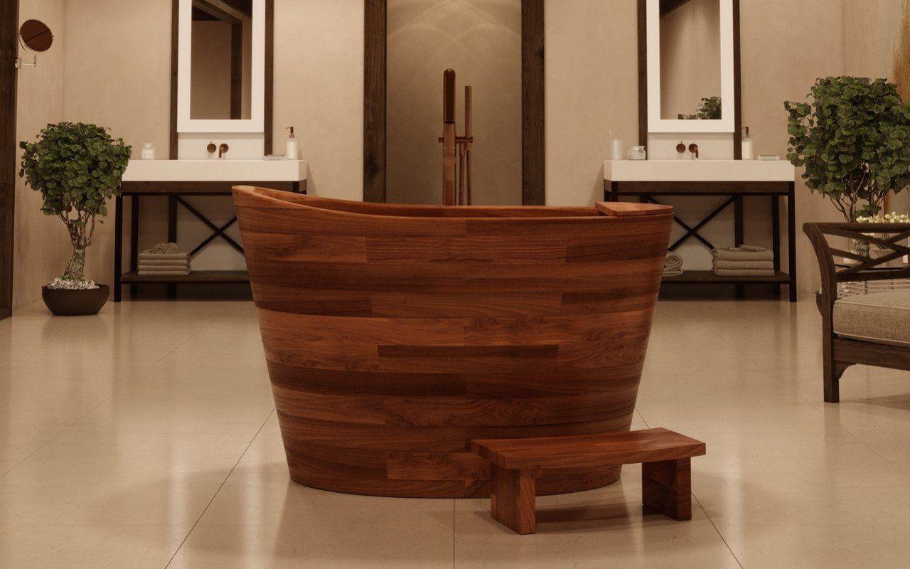 Aquatica true ofuro wooden freestanding japanese soaking